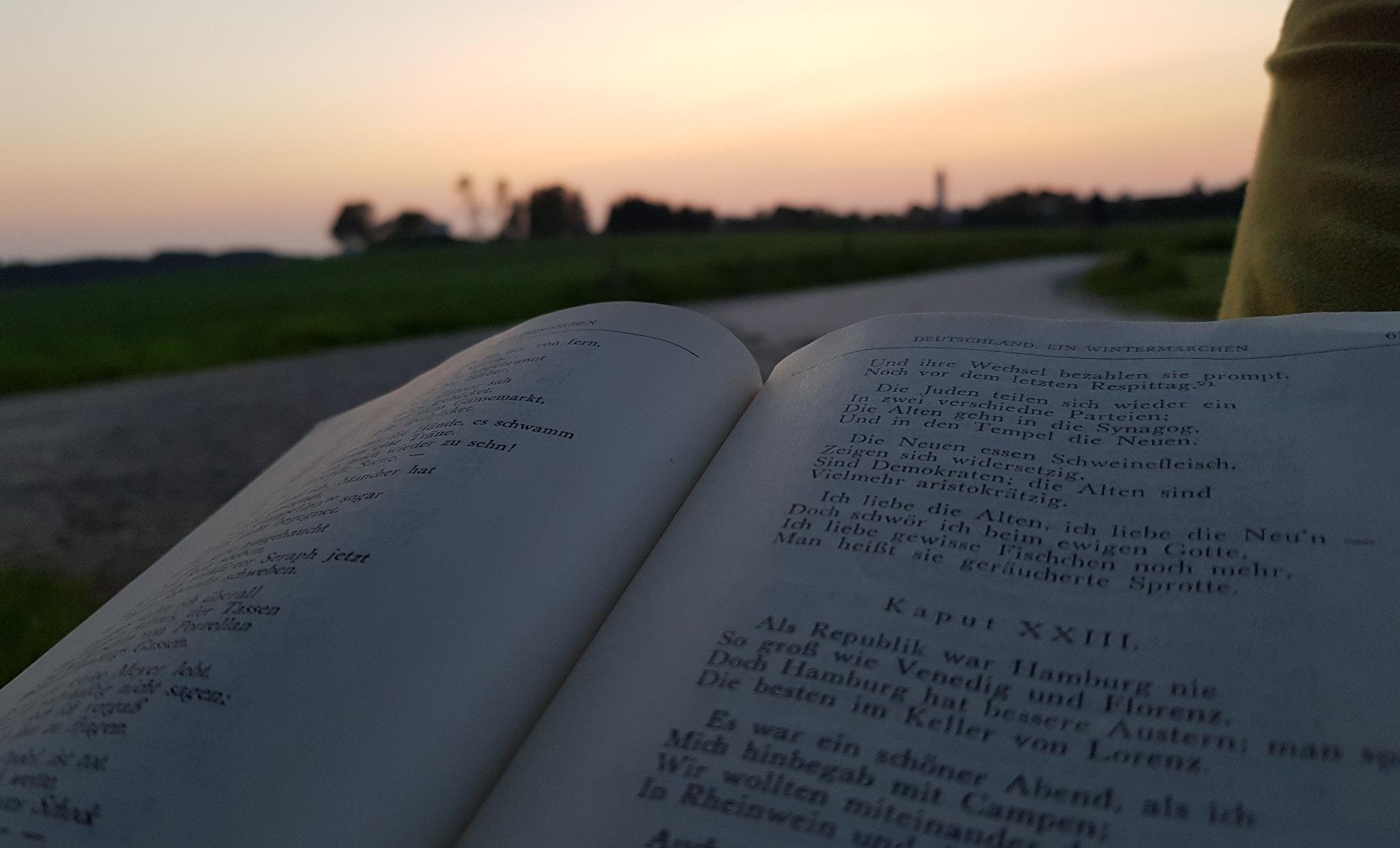 Heinrich Heine lesen im sonnenuntergang
